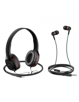 Headphone Stereo Hoco W24 Enlighten Red with Microphone and extra Earphones 3.5mm
