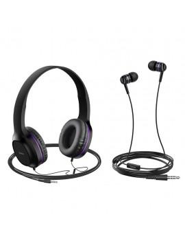 Headphone Stereo Hoco W24 Enlighten Purple with Microphone and extra Earphones 3.5mm
