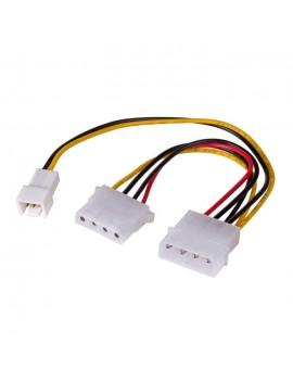 Adapter with Power Cable Akyga AK-CA-35 Molex Male / 3 pin 12V Male / Molex Female 2x 15cm