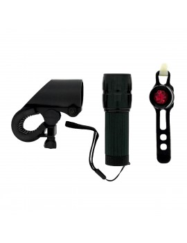 Bicycle Light Ancus 082 with Adjustable LED Front Light and Extra Rear Red Light. black