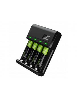 Battery Charger  Green Cell GRSETGC02 VitalCharger για AA/AAA Micro USB and USB-C port  0.5W/1.5V/1.2A with 4 X AAA/HR03  800mAh