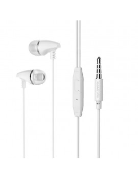 Hands Free Borofone BM25 Sound Edge Universal Earphones Stereo 3.5 mm White with Micrphone and Operation Control Button