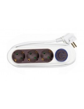 Power Strip GS31B03L/AN with 3 Anthracite Schuko, On/Off Button and 1 m. Cable (250V-16A 3500W)