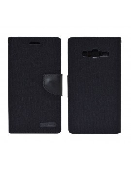 Book Case Ancus Canvas Diary for Samsung SM-G7102 Galaxy Grand 2 Black by Mercury