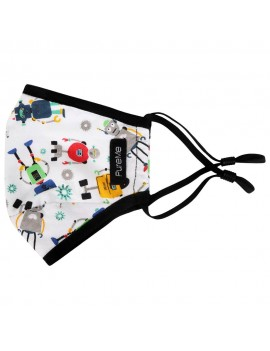 PureMe Reusable / Adjustable Mask Kids 2 pcs N95 filters inside the package Robot Print